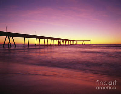 Photograph - Silhouetted Fishing Pier Sunset Pacifica California  by Jim Corwin
