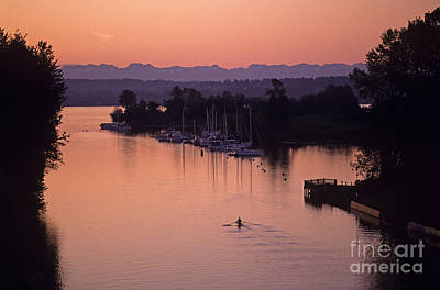 Photograph - Silhouetted Rower On Montlake Cut Sunrise Opening Day Of Boating by Jim Corwin
