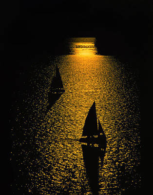 Sailboat Photograph - Silhouetted Sailboats  by Larry Kjorvestad