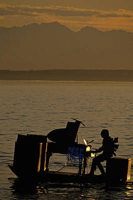 Silhouetted Sea Monster Playing Piano.tif Art Print by Jim Corwin