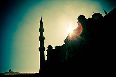 Silhouettes Of Blue Mosque Istambul Turkey Art Print by Raimond Klavins