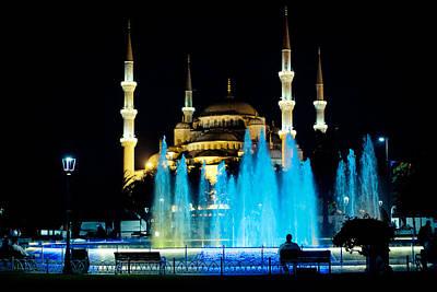 Silhouettes Of Blue Mosque Night View Art Print by Raimond Klavins