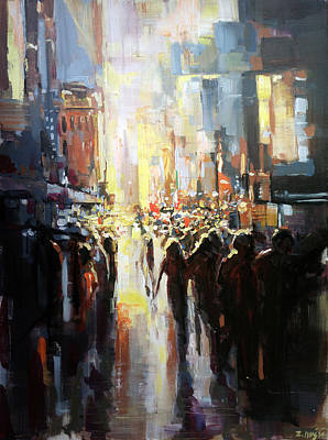 City Sunset Painting - Silhouettes Passing By by Zlatko Music