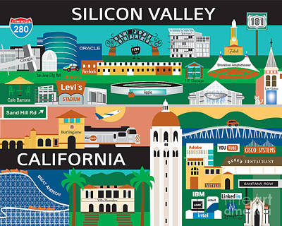 Silicon Valley Print by Karen Young