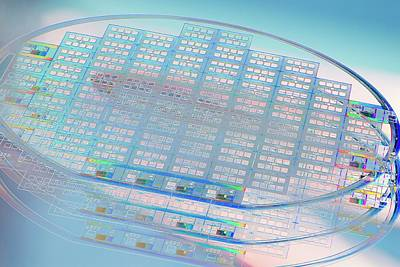 Electronic Photograph - Silicon Wafer by Chris Knapton