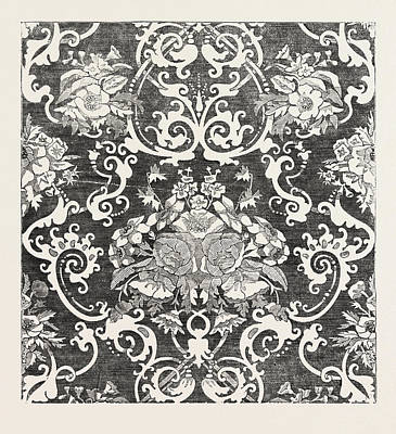 Damask Drawing - Silk And Worsted Damask by M'crea And Co., Of Halifax, English, 19th Century