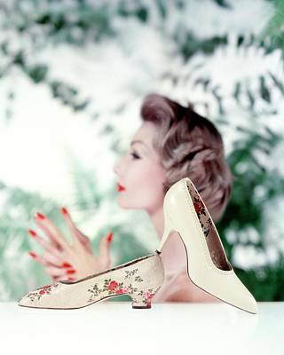 Red Nail Polish Photograph - Silk Brocade Pumps by John Rawlings