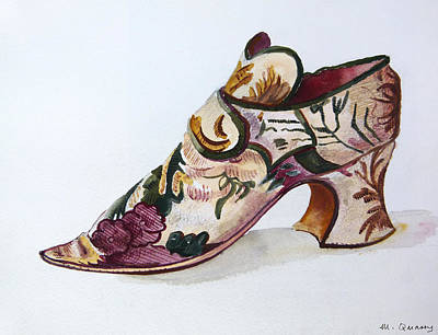 Social History Painting - Silk Damask Shoe - Late 17th Century by Mary Quarry