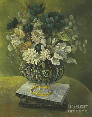 Art Print featuring the painting Silk Floral Arrangement by Marlene Book