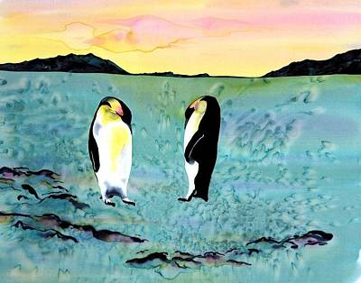 Silk Penguins Art Print by Carolyn Doe