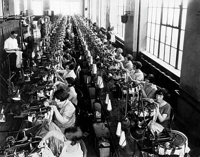 Photograph - Silk Stocking Factory by Underwood Archives