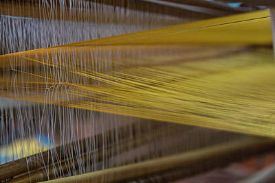 Photograph - Silk Weaving At A Silk Farm by Peter Stuckings