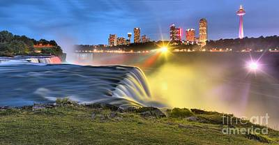 Photograph - Silky Niagara Falls Panoramic Sunset by Adam Jewell