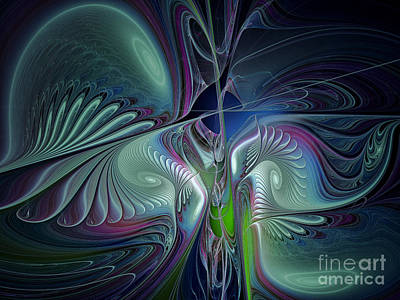 Fractal Geometry Digital Art - Silky Nights-fractal Design by Karin Kuhlmann