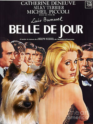 Painting - Silky Terrier Art Canvas Print - Belle De Jour Movie Poster by Sandra Sij