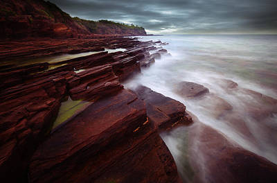 Art Print featuring the photograph Silky Wave And Ancient Rock 3 by Afrison Ma