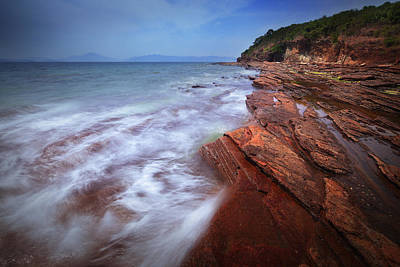 Photograph - Silky Wave And Ancient Rock 6 by Afrison Ma