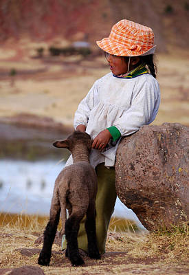 Photograph - Sillustani Girl With Hat And Lamb by RicardMN Photography