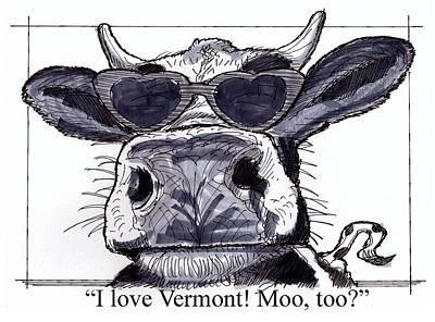 Vermont Drawing - Silly Cow From Vermont by Richard Wambach