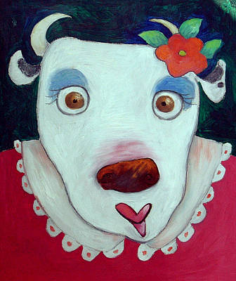 Silly Cow Oil On Canvas Art Print by Maylee Christie