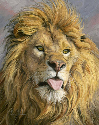 Lion Painting - Silly Face by Lucie Bilodeau