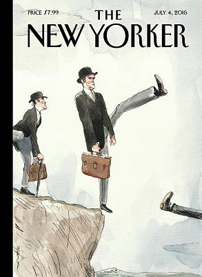 England Wall Art - Painting - Silly Walk Off A Cliff by Barry Blitt
