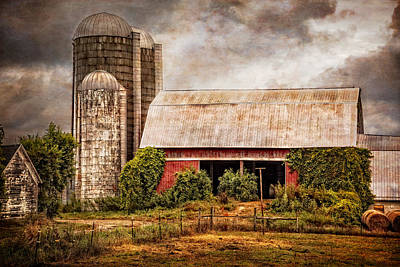 Silos And Barns Art Print by Debra and Dave Vanderlaan