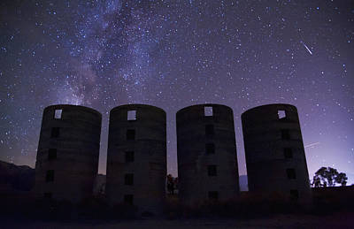 Meteor Photograph - Silos At Night by Cat Connor