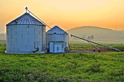 Photograph - Silos At Sunrise by Frozen in Time Fine Art Photography