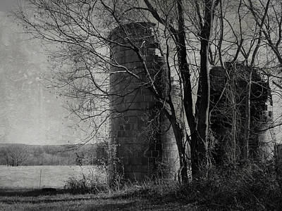 Photograph - Silos - Black And White by Joseph Skompski