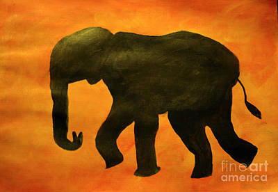 Zeni Shariff Painting - Silouhette Of An African Elephant by Zeni Shariff
