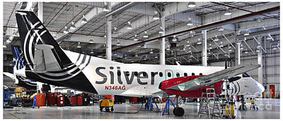 Silver Airways Jet N34 Long Print by Diane E Berry