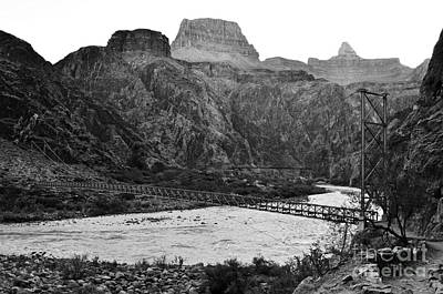 Photograph - Silver And Black Bridges Over Colorado River Bottom Grand Canyon National Park Black And White by Shawn O'Brien