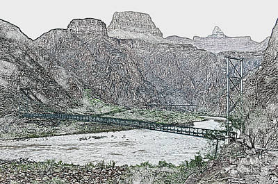 Digital Art - Silver And Black Bridges Over Colorado River Bottom Grand Canyon National Park Colored Pencil by Shawn O'Brien