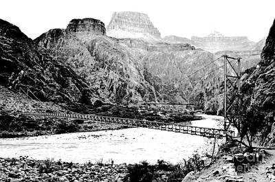 Digital Art - Silver And Black Bridges Over Colorado River Bottom Grand Canyon National Park Conte Crayon Bw by Shawn O'Brien