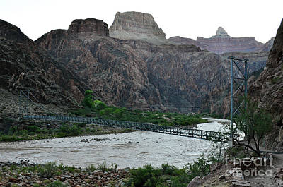 Photograph - Silver And Black Bridges Over Colorado River Bottom Grand Canyon National Park by Shawn O'Brien