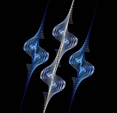 Digital Art - Silver And Blue Spirals by Sandy Keeton
