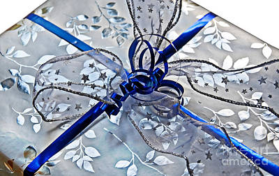 Photograph - Silver And Blue Wrapped Gift Art Prints by Valerie Garner