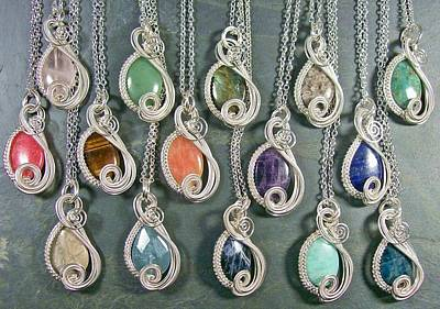 Heather Jordan Jewelry - Silver And Gemstone Swish Pendant by Heather Jordan