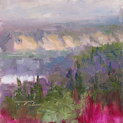 Organic Forms Painting - Silver And Gold - Matanuska Canyon Cliffs River Fireweed by Talya Johnson