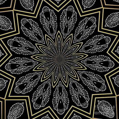 Digital Art - Silver And Gold Metallics On Black Kaleidoscope Abstract 1 by Rose Santuci-Sofranko