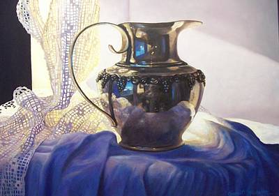 Silver Pitcher Painting - Silver And Lace I by Janet Weaver