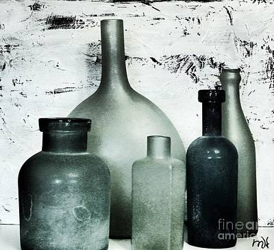 Wrap Digital Art - Silver And Onyx Bottles by Marsha Heiken