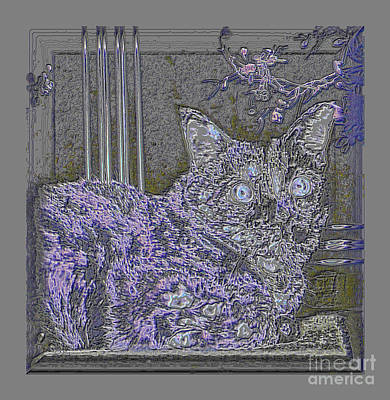 Digital Art - Beautiful Art Design. Silver And Purple Cat by Oksana Semenchenko