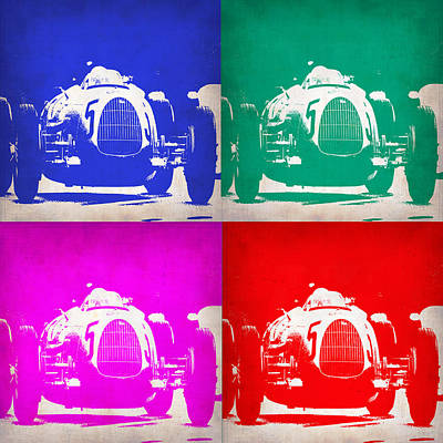 Racing Car Digital Art - Silver Arrow Pop Art 1 by Naxart Studio