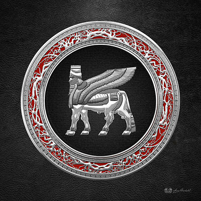 Digital Art - Silver Babylonian Winged Bull  by Serge Averbukh