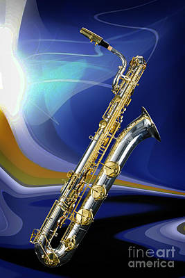 Saxophone Photograph - Silver Baritone Saxophone Photograph In Color 3459.02 by M K  Miller