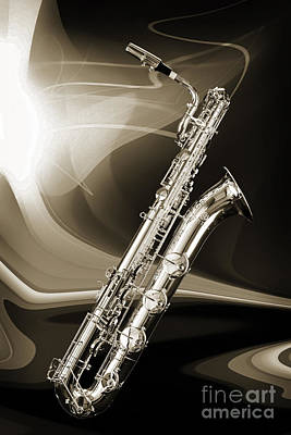 Photograph - Silver Baritone Saxophone Photograph In Sepia 3459.01 by M K Miller
