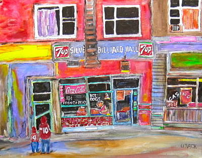 St. Lawrence Blvd Painting - Silver Billiards Hall by Michael Litvack