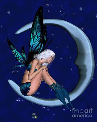 Long Necklace Digital Art - Silver-blue Moon Fairy With Starry Nighttime Background - 2 by Fairy Fantasies